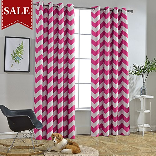 Melodieux Chevron Room Darkening Blackout Grommet Top Curtains, 52 by 84 Inch, Fuchsia Pink (1 Panel) -