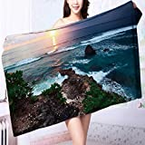 Organic Cotton Luxury Bath Towel Sunset over rocky coast of Indian Ocean Bali island,Indonesia Excellent Water Absorbent Antistatic L39.4 x W19.7 INCH