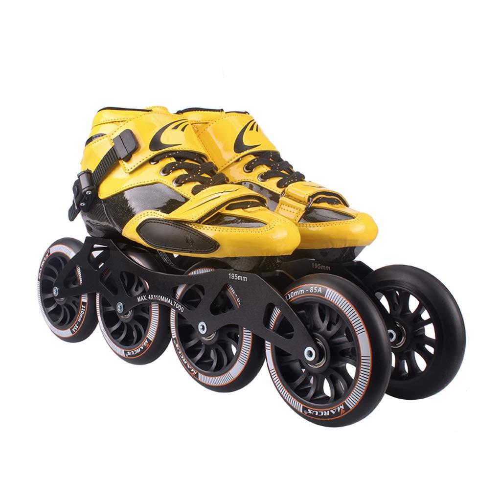 LIUXUEPING ローラースケート、 プロのスピードスケートシューズ、   大人の子供たちのスケート、   インラインスケート、 ビッグホイールレーシングシューズ (色 : イエロー いえろ゜, サイズ さいず : 42) B07GLT4PRL 41|黒 黒 41