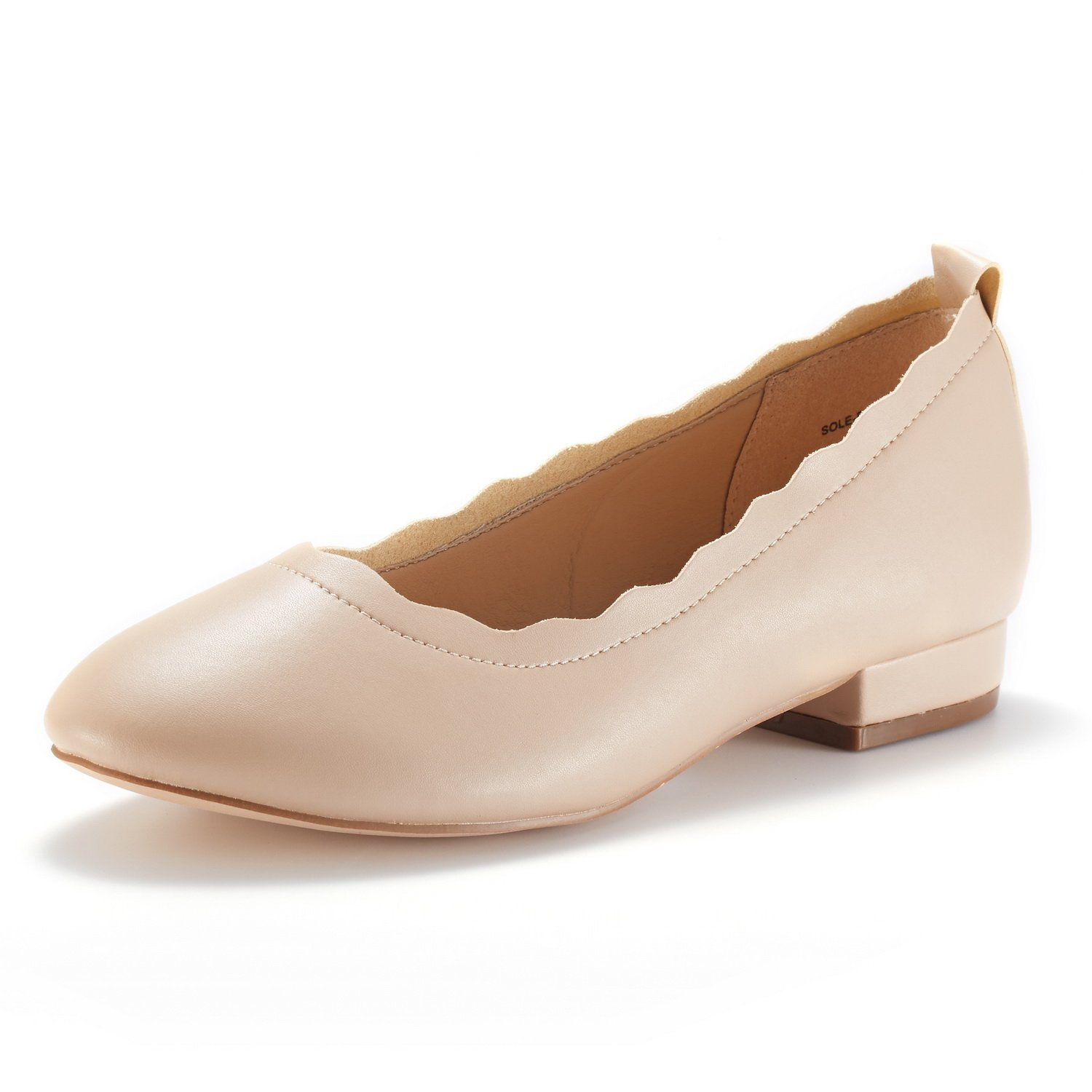 DREAM PAIRS Women's Sole_Elle Nude/PU Fashion Low Stacked Slip On Flats Shoes Size 8 M US