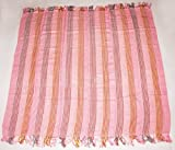 Luxury Hand Twill Weave Large Shoulder Scarf- Soft & Comfortable, Blanket, Pink 141cm X 123cm