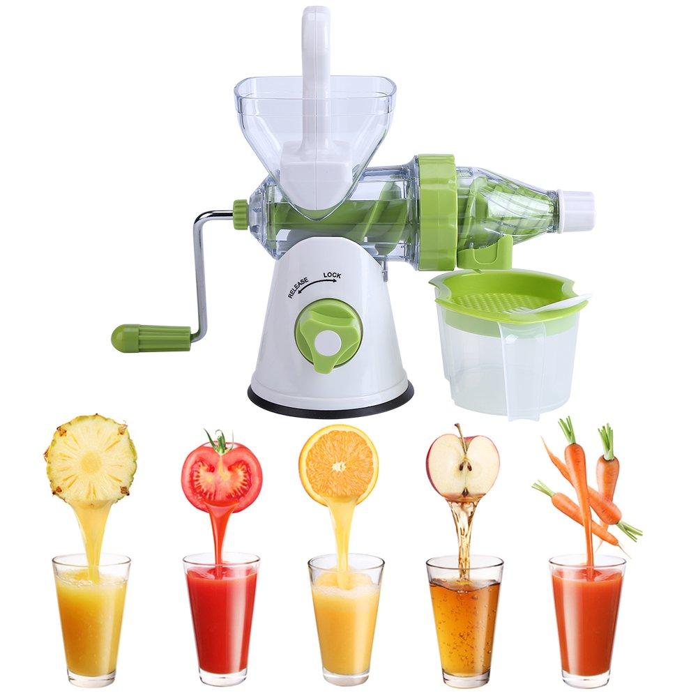 Manual Hand Crank Juicer,Single Auger Health Juicer Fruit&Vegetable Juice Extractor Fruit Squeezer Manual Wheatgrass Juicer, Multifunctional 100% Healthy Natural Juice Maker