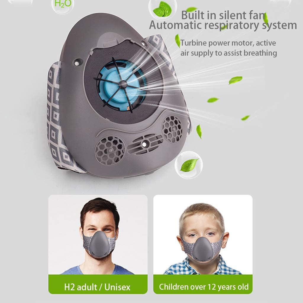 2020 Fashion Protective Black,1PC+2PC Filters Huifa Smart Electric Anti-Fog Haze Dustproof and Air Purification Face Protection
