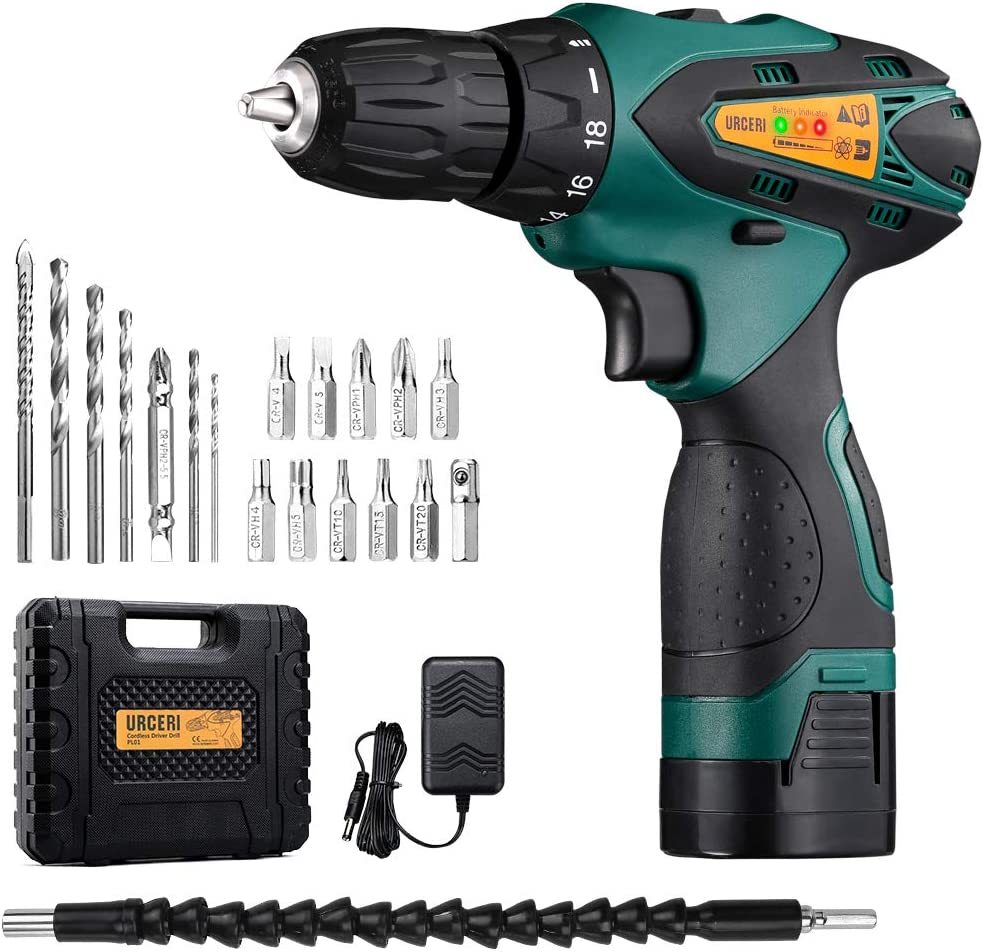 URCERI 14.4V Cordless Electric Drill Kit 2000 mAh Lithium-ion Battery 18 1 Keyless Clutch 2-Speed Driver with LED, Multiple Sockets, Screwdriver Drill Bits, Magnetic Tip Holder Flexible Shaft, Yel