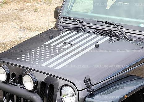 Free DecalWrangler USA MADE Jeep Hood DecalDistressed American Flag