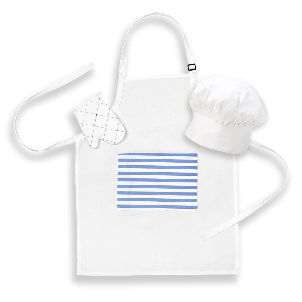 Prime Kids Apron Bundle with Pocket, Chef Hat, and Oven Mitt