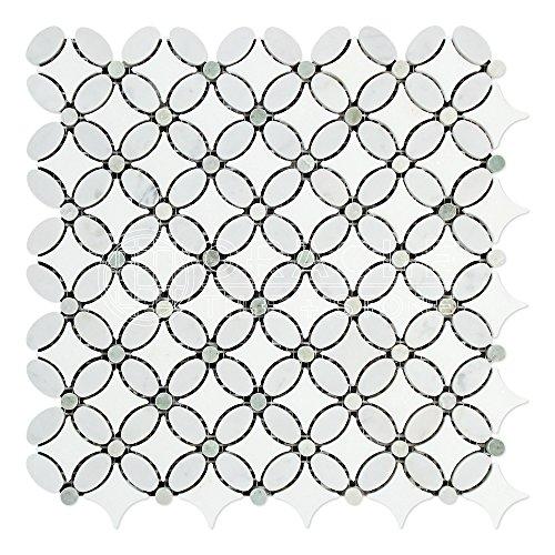 Carrara White Italian (Bianco Carrara) Marble Florida Flower Mosaic Tile with Ming Green Marble Dots, Polished