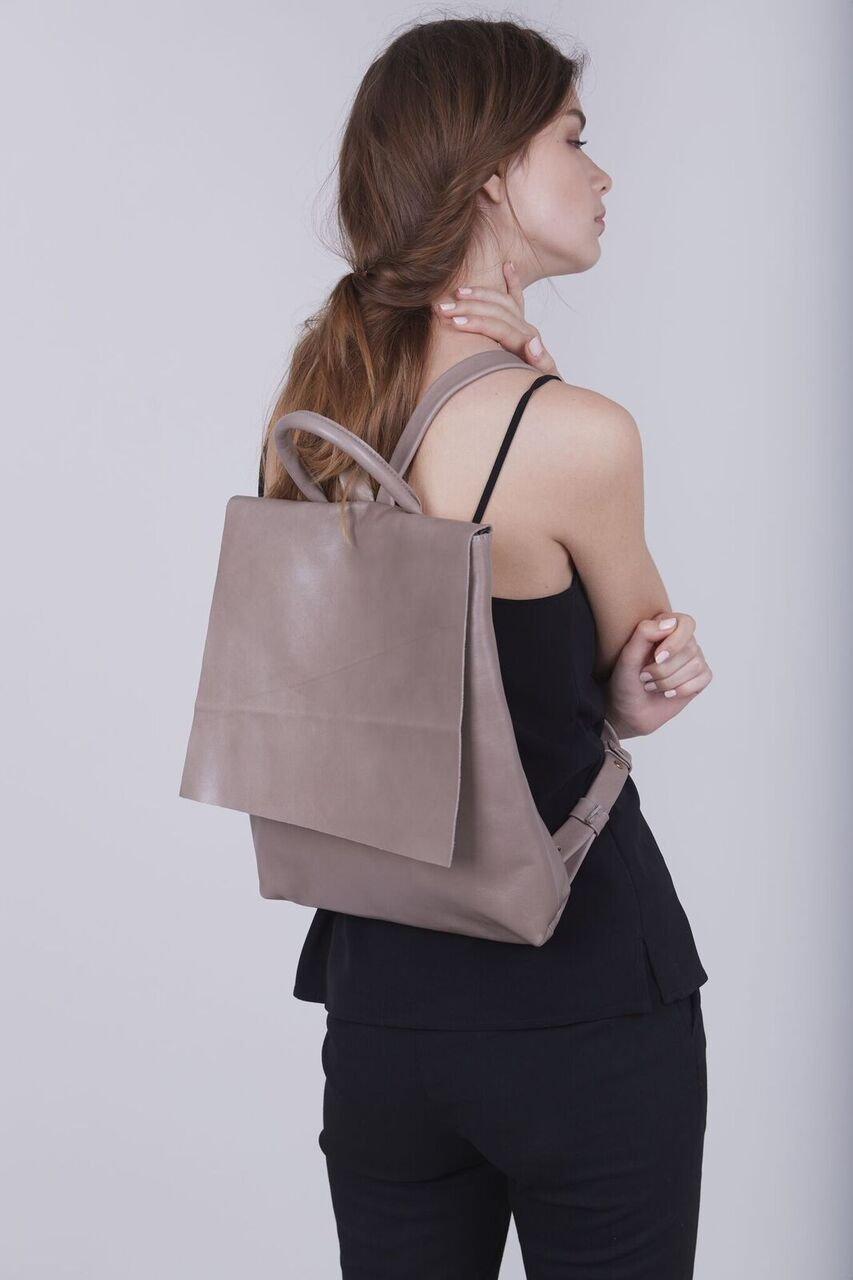 Designer Modern Taupe Leather Slim 13 Inch Laptop Tablet Lightweight Backpack