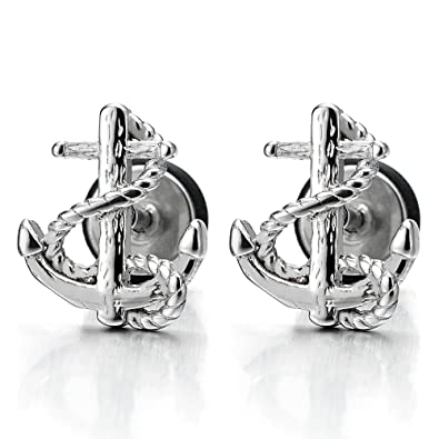 Stainless Steel Mens Women Marine Anchor Stud Earrings, Screw Back, 2 pcs