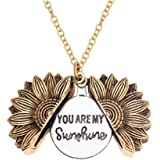 CINDYHE You are My Sunshine Engraved Necklace Memorial Sunflower Locket Necklace for Women Girls