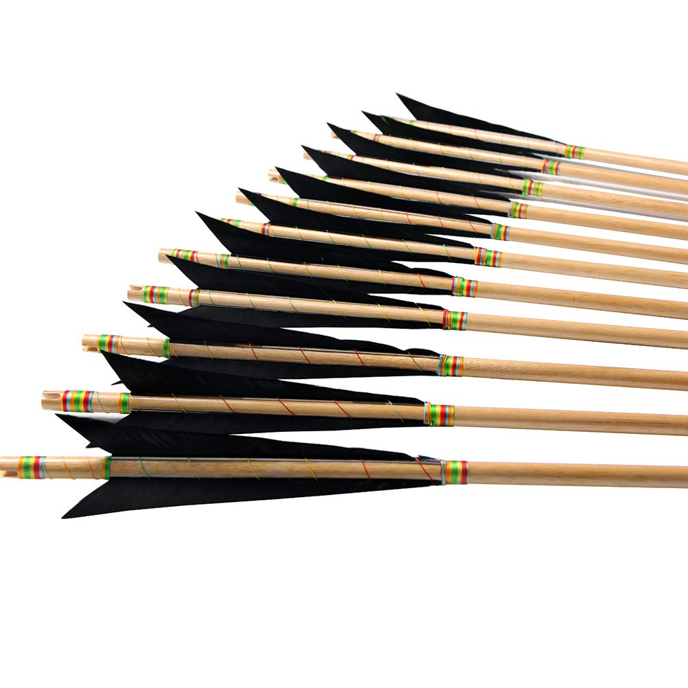 PG1ARCHERY Archery Wooden English Longbow Arrows Practice Targeting Arrow 5.8'' Turkey Feathers Fletching with Bullet Points for Recurve & Traditional Bow Black, 12 Pack