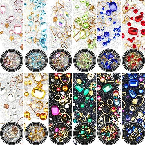 Yaomiao Nail Art Rhinestones Flatback Diamonds Crystals Beads Gems Mixed Colorful for Nail Art Decorations DIY Design (Set 2, 12 Boxes)