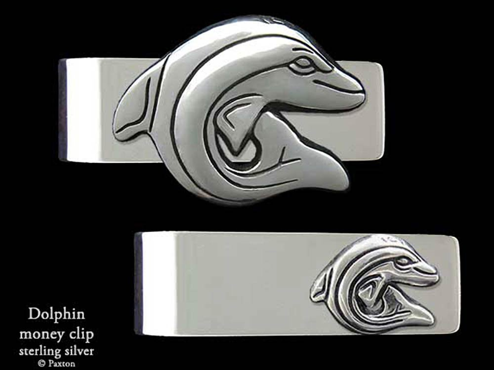 Dolphin Money Clip in Solid Sterling Silver Hand Carved, Cast & Fabricated by Paxton