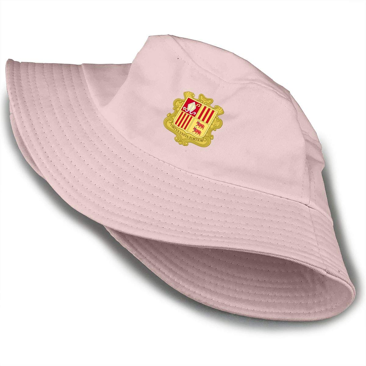Coat of Arms of Andorra Unisex Cotton Packable Black Travel Bucket Hat Fishing Cap