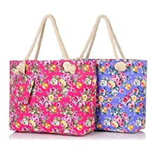 Binlion Canvas Beach Bag 2pcs/set In Defferent Color with Rose Flower Printing -Roomy Shoulder Tote Insider Lining Inner Pocket Top Handle