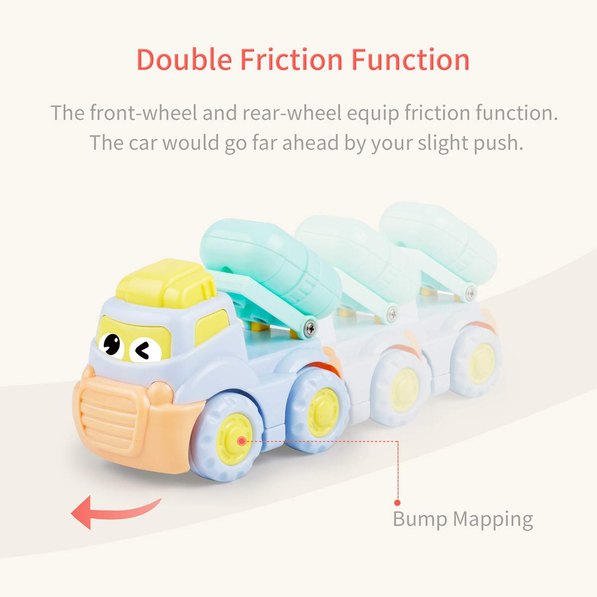 Crane,Cement Mixer,Random 1 Pack Infant Baby Toys Double Inertial Construction Vehicle Toy Cars Friction Powered Push Go Gift Toddler Kids for 18 Months Old Macaron Color,Coal Car,Oil Tank Truck