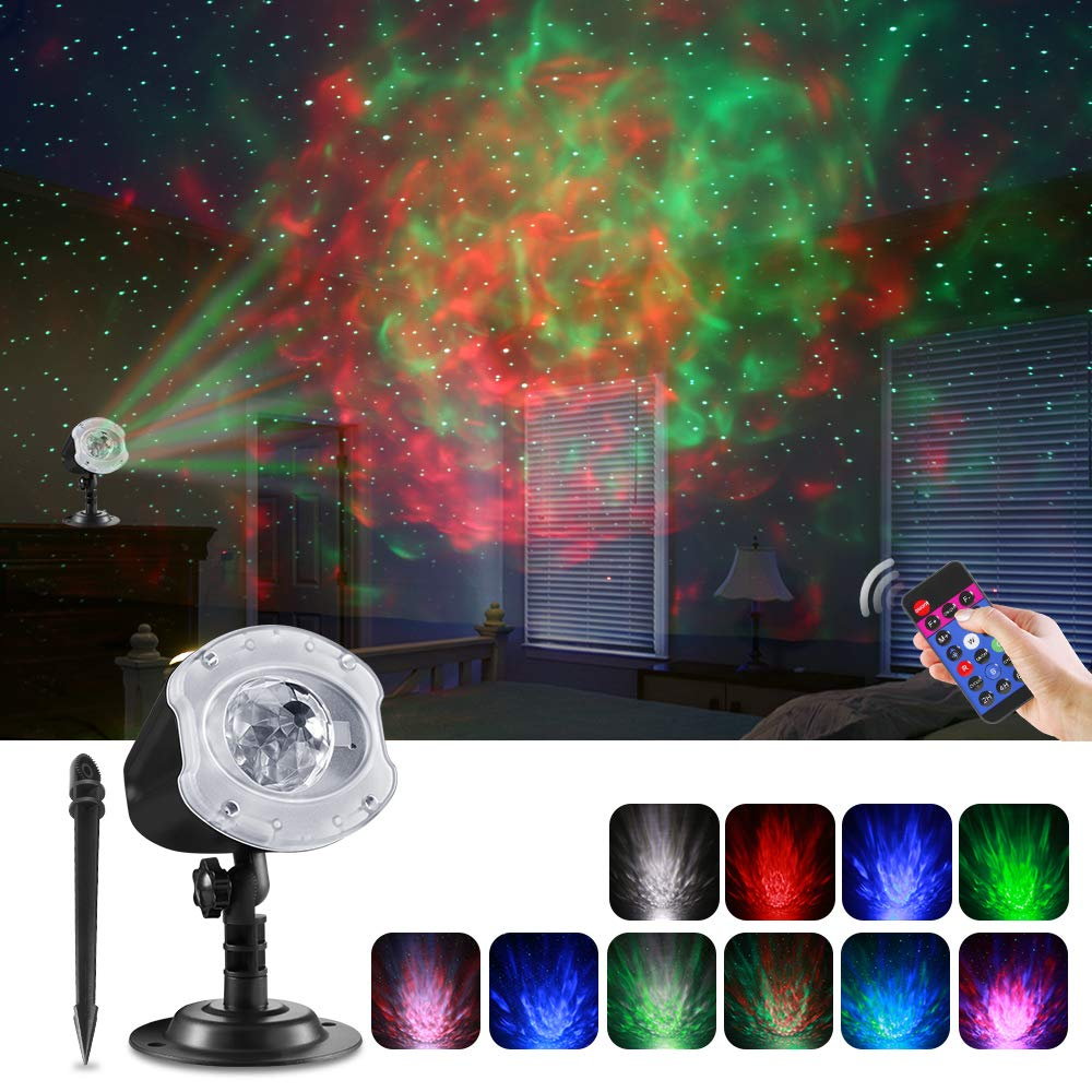 ECOWHO LED Star Christmas Projector Light, 2 in 1 Ocean Wave LED Christmas Projector Night Light with Remote RGBW 10 Colors Waterproof Landscape Lights for Bedroom Party Halloween Home by ECOWHO