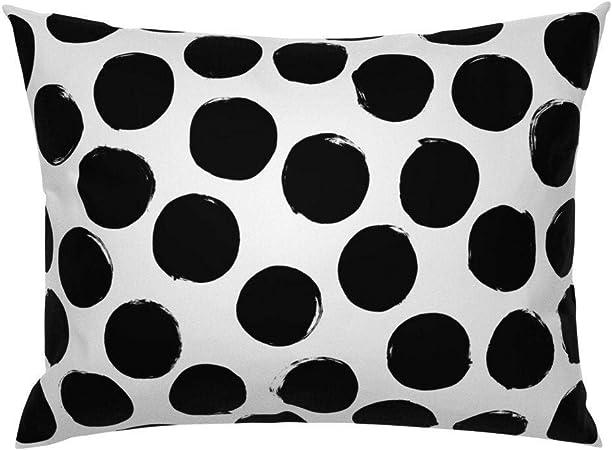 Brooer2ick - Funda de Almohada de satén de algodón, diseño de Lunares, Color Blanco y Negro: Amazon.es: Hogar