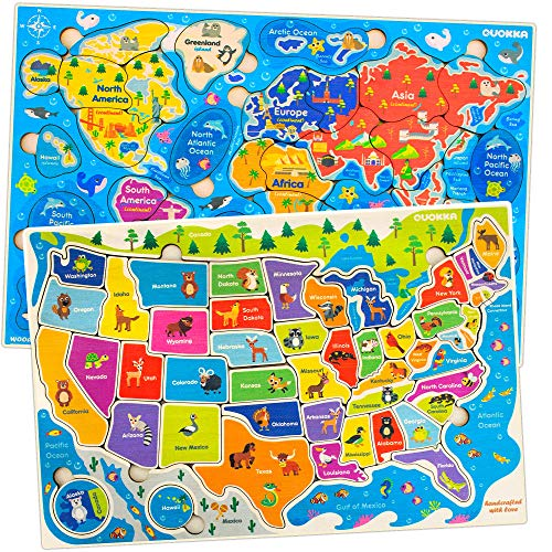 Quokka Wooden Puzzles for Toddlers 2 3 4 5 Year Olds - 2 Pack Puzzles - Kids Matching Game for Learning World Map USA States, Educational Preschool Wood Toys for Ages 2-4