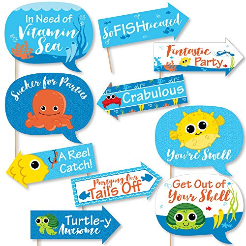 Big Dot of Happiness Funny Under the Sea Critters - Birthday Party or Baby Shower Photo Booth Props Kit - 10 Piece]()