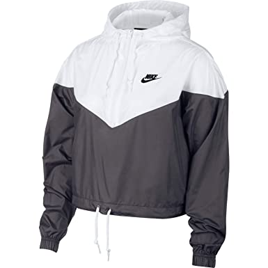 Nike Womens Heritage Windrunner Track Jacket Dark Grey White Black  AR2511-021 Size 8c75857e4