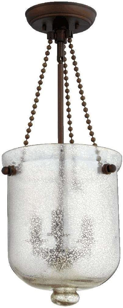 Quorum 6720-3-86 Three Light Entry, Oiled Bronze Finish with Silver Mercury Glass