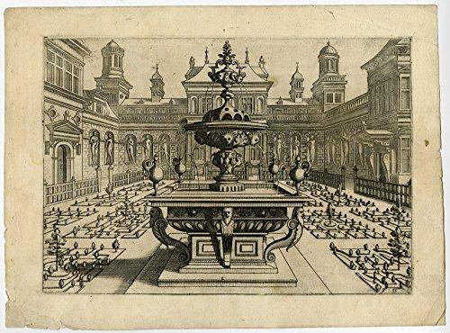 Antique Master Print-ORNAMENT-FOUNTAIN-FORMAL GARDEN-Vredeman de Vries-Doetecum-1568