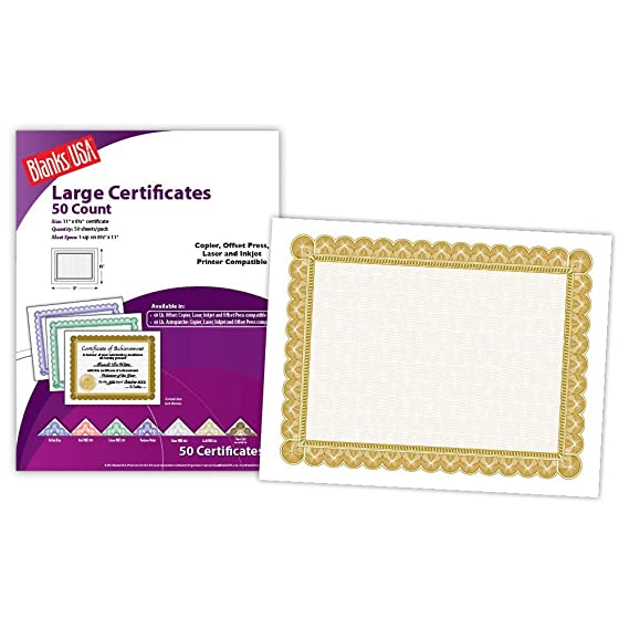Blanks USA 8 5 X 11 Certificate With Gold Border