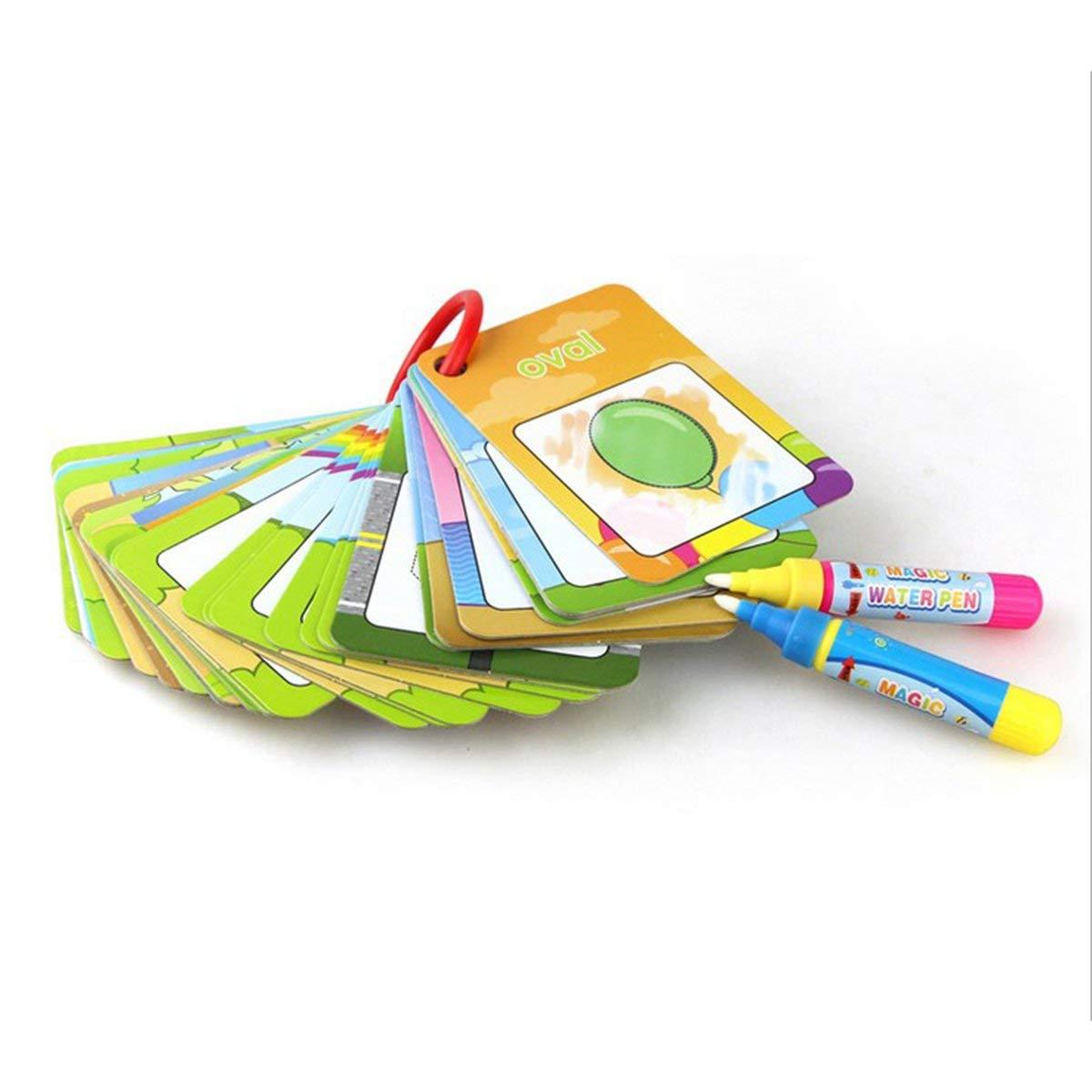 Gugutogo Tarjeta de Dibujo acuá tico Libro para Colorear con 2 bolí grafos má gicos Carta con el nú mero Tarjeta de Pintura cognitiva Juguetes educativos para niñ osmulticolor