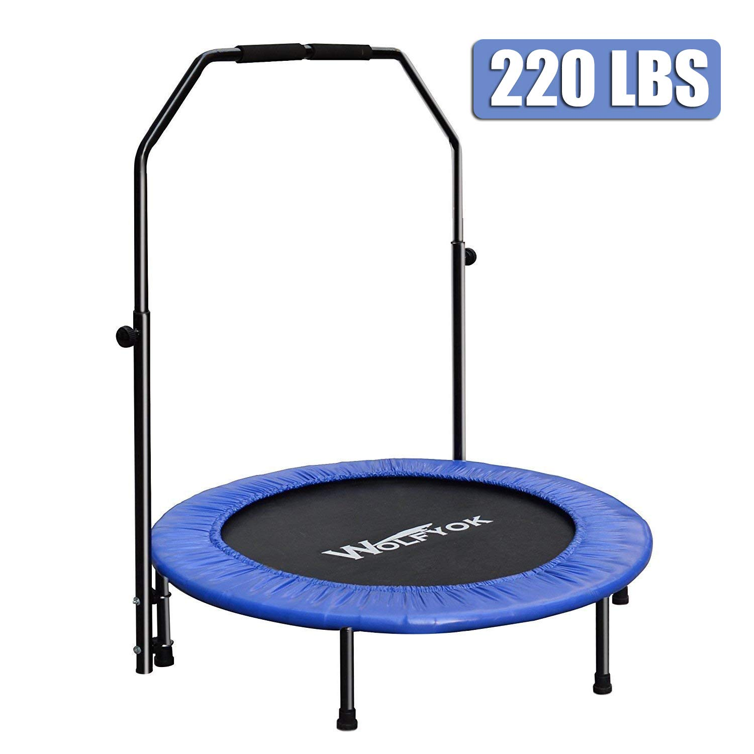 Wolfyok Exercise Trampoline with Safety Pad Adjustable Handle Bar Portable & Foldable Rebounder for Adults Kids Body Fitness Training Workout Max Load 220 lbs by Wolfyok
