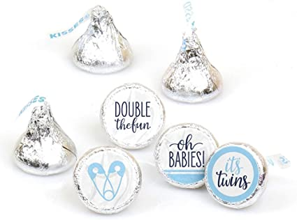 Amazon Com It S Twin Boys Blue Twins Baby Shower Round Candy Sticker Favors Labels Fit Hershey S Kisses 1 Sheet Of 108 Health Personal Care