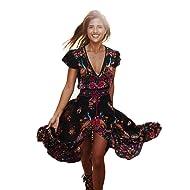 Ruhiku GW Women's Deep V Neck Split Floral Print Flowy Short Sleeve Party Maxi Dress