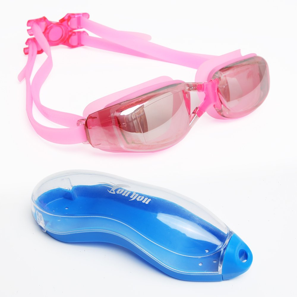 youyou Swimming Gear Set 4 Pack:Swim Cap Mirrored Goggles Swim Bag Ear Plugs for Adults and Young Kids