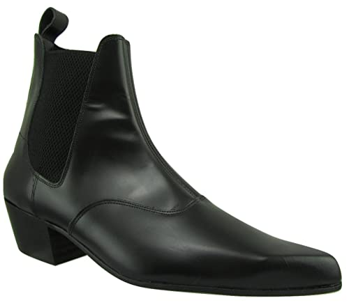 c4324150749d Retro of London Hand Made Men Beatle Beat Boot Chelsea Black Leather  Pointed Toe Cuban Heel  Amazon.co.uk  Shoes   Bags