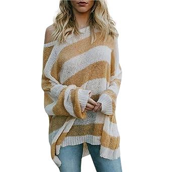 Damen Pullover Gestreift Strickpullover Casual Pulli Langarm Rundhals  Strickpulli T-Shirt Lose Asymmetrisch Sweatshirt Jumper Bluse Strick  Oberteile ... c5859817d9
