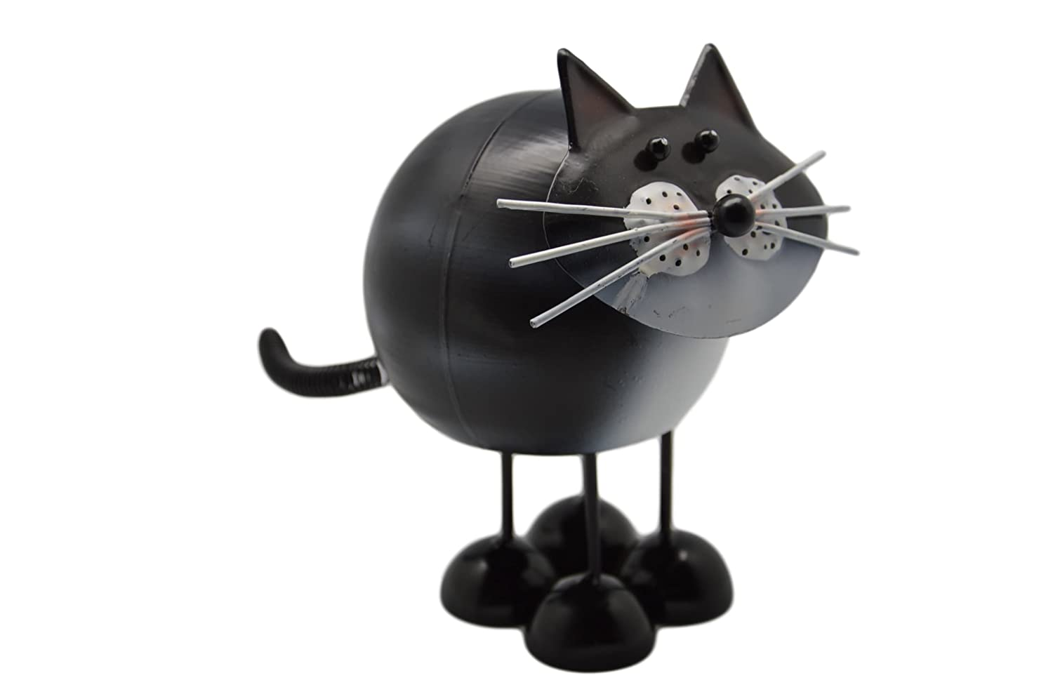 Metal Cat Ornament Spring Loaded Body Allows This Cute Cat Gift To Just Keep Bobbin Bobbin Friends Black Cat Suitable For Indoor or Outdoor Use