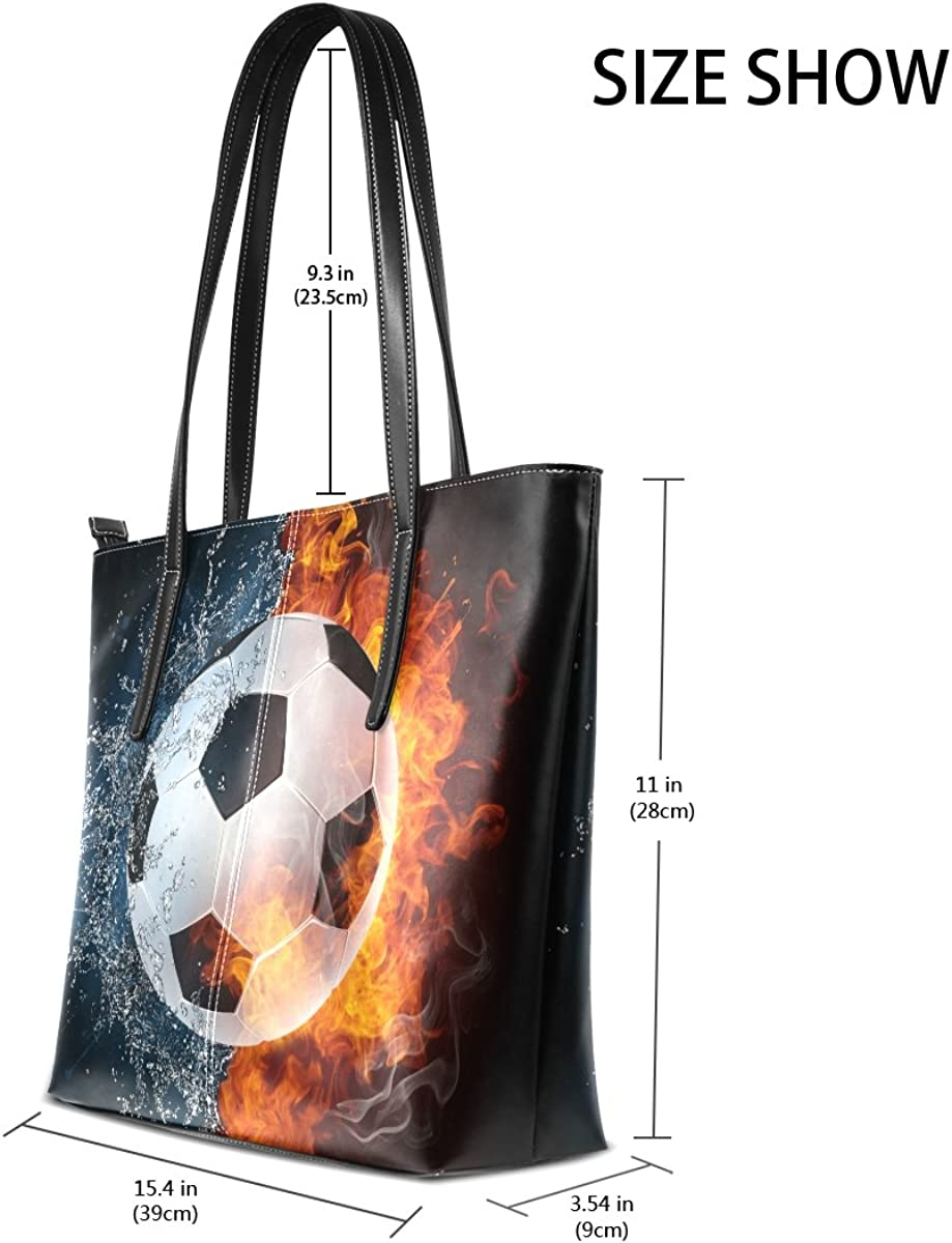 Ethel Ernest Womens Purse Soccer Ball On Fire Water PU Leather Shoulder Tote Bag