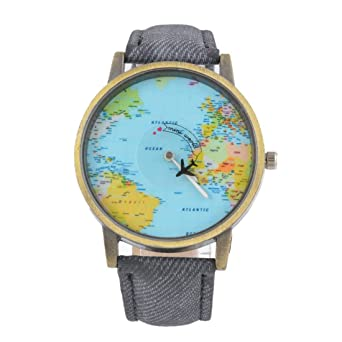 Souarts womens retro world map watch casual analog quartz plane souarts womens retro world map watch casual analog quartz plane wrist watch gray gumiabroncs Gallery