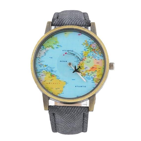 Souarts Damen Armbanduhr Einfach Stil Landkarte Muster Analoge