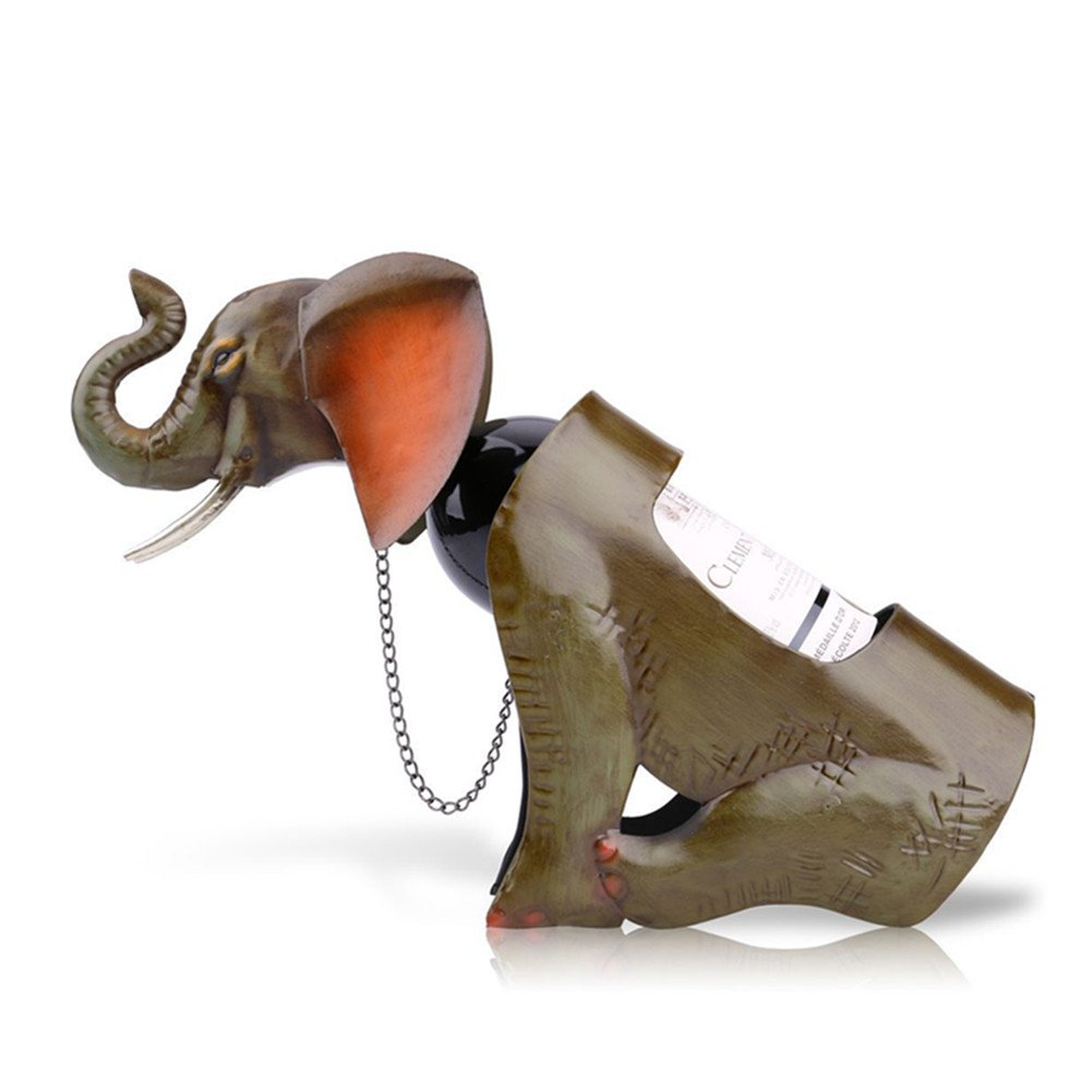 Unique Metal Wine Rack Animals Standing Wine Bottle Holder Christmas Gifts (Elephant)