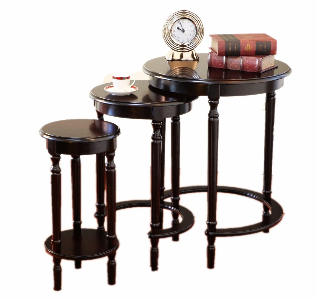 Frenchi Furniture Set of 3 Round Nesting Tables in Cherry Finish