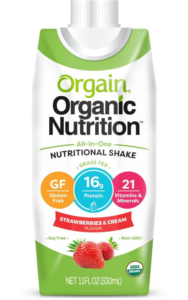 Orgain Organic Nutrition Shake, Strawberries & Cream, Non-GMO, Kosher, Gluten Free, 11 Ounce, 12 Count, Packaging May Vary
