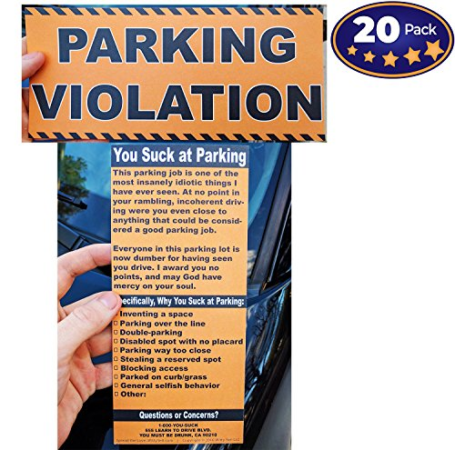Full-Size Fake Parking Ticket by Witty Yeti 20 Pack. Both Realistic & Hilarious. Punish the Idiots Who Park Like Aholes. Hilarious Prank, Gag Gift & Stocking Stuffer. It's Time for - Bad Parking Tickets