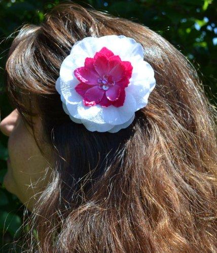 Amelia Silk Flower Hair Clip (White & Hot Pink)