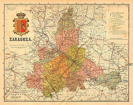 Mapa Provincia De Zaragoza.Zaragoza Saragossa Aragon Mapa Antiguo De La Provincia