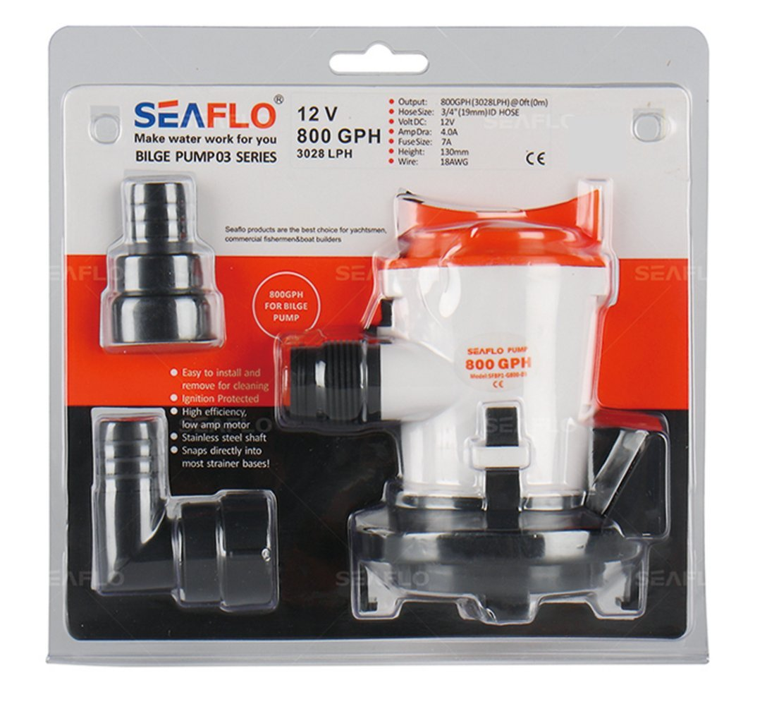 amazon com seaflo 12v 800gph bilge pump w side mounting strainer rh amazon com