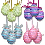 "12 Pack Hanging Easter Egg Ornaments 4 ½"" Sparkling Glitter Pastel Design Decorative Foam Tree Eggs Decorations for Spring Holiday Crafts Party Supplies Decor Set by Gift Boutique"