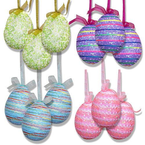 12 Pack Hanging Easter Egg Ornaments 4 ½ Inch Sparkling Glitter Pastel Color Design Decorative Foam Tree Eggs Decorations For Spring Holiday Crafts Party Supplies Decor Set By Gift Boutique -