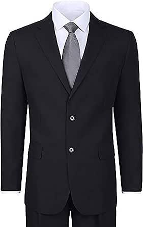 Men's 2 Piece Black Elegant Single Breasted 2 Button Suit (46 Long)