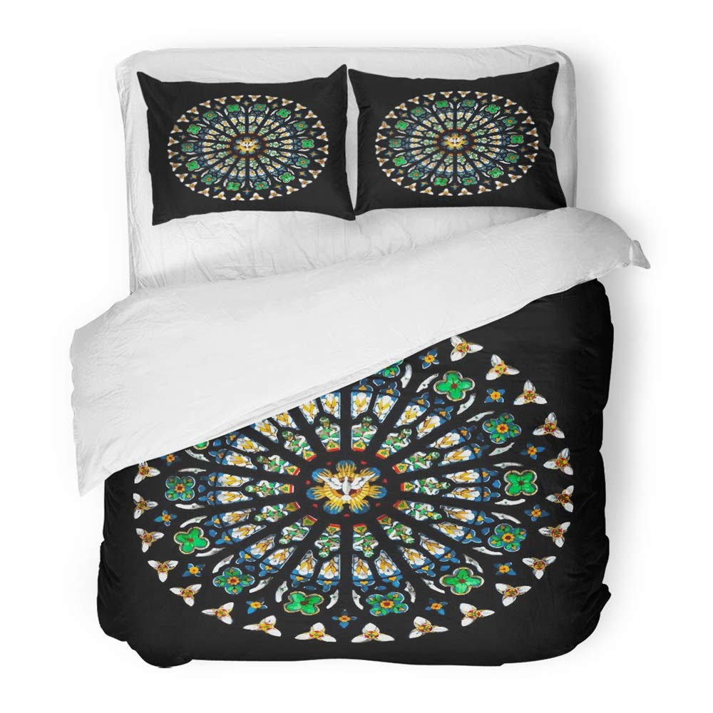 Emvency Bedding Duvet Cover Set Twin (1 Duvet Cover + 1 Pillowcase) Gothic Rose Stained Glass Church Window Round Cathedral Architecture Mosaic Stain Hotel Quality Wrinkle and Stain Resistant by Emvency (Image #1)